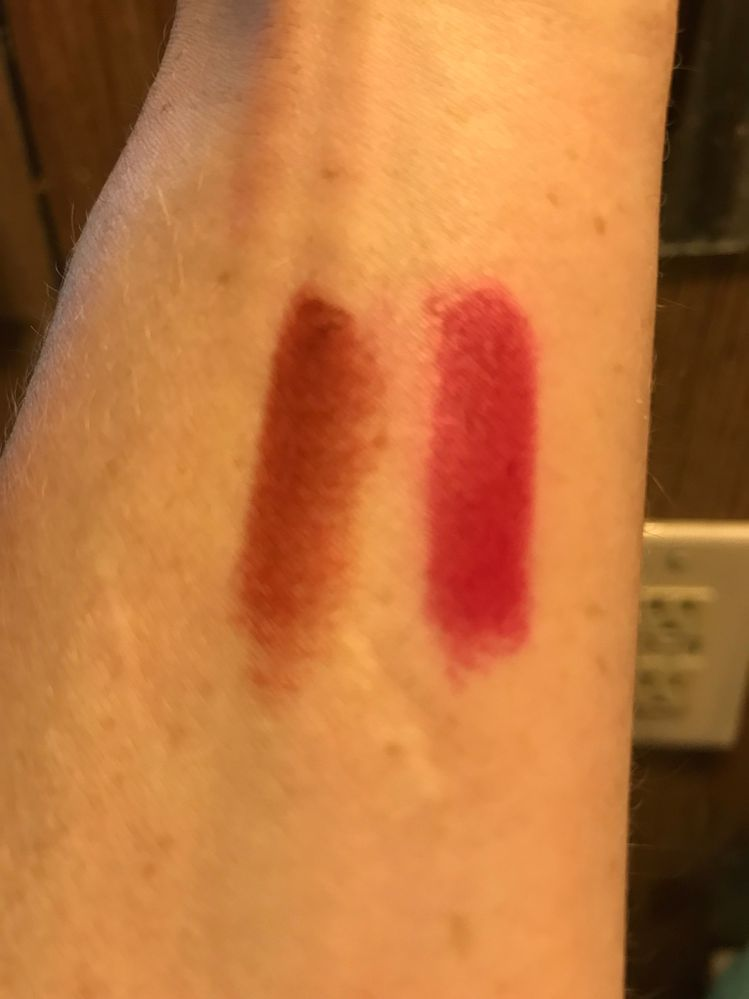 Indoor light , same swatches ( KVD Misfit left , Shiseido MM right )