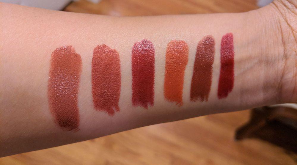 L-R: UD Epigram, Shiseido Shizuka Red, KVD Misfit, Colourpop Foolish, Gallop, Shiseido Exotic Red