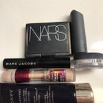 Makeup favs- by terry sheer expert,Maybelline age rewind, Marc Jacobs velvet noir, by terry hydrapowder, Bite amuse bouche in sake and nars orgasm blush