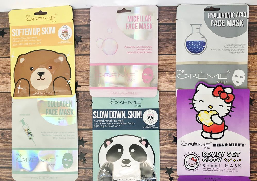 Eee! The Creme Shop makes some great masks. The only ones I've tried are the Collagen and Hello Kitty ones and I liked those! How cute are these masks!This is going to be fun!!