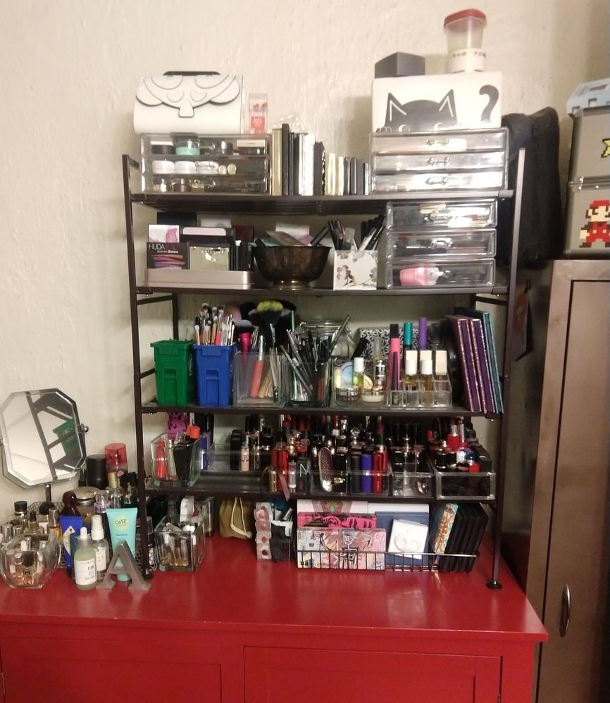 The whole shebang. I've got 5 of those containers, plus a couple other holders in use to corral them all. Lipsticks take up the entire bottom shelf :o