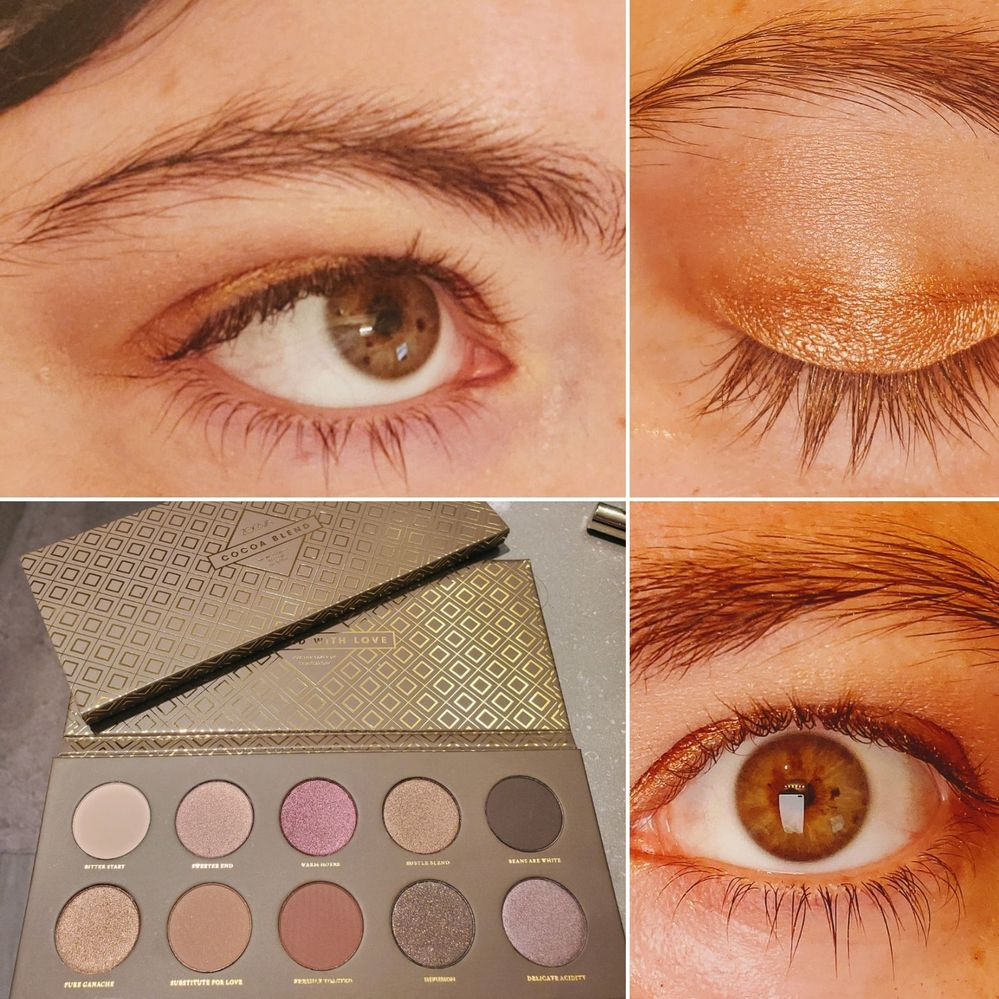 Zoeva Cocoa Blend palette. Used the top two left shades to blend into each other in the crease and above. The lid was the bottom left shade.