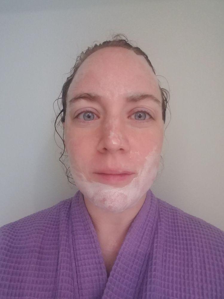 Rubbing in around the chin, creating more bubbles