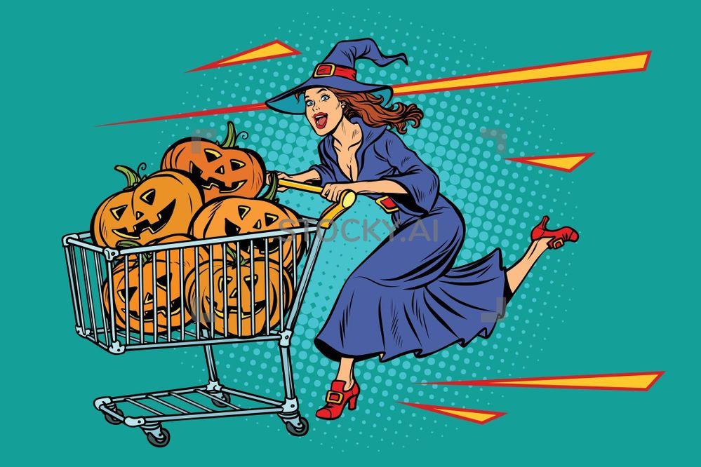 image-Halloween-witch-pumpkins-shopping-cart-trolley-sale-stocky-ai-26946890