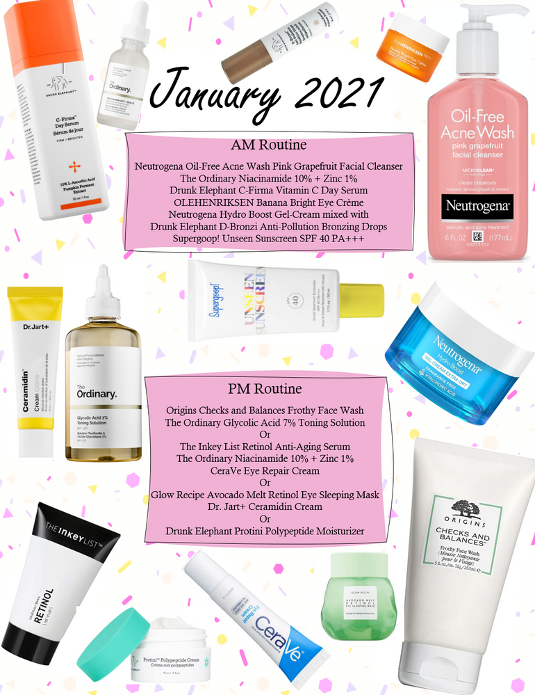 Just thought I would upload this fun graphic I made of my new skincare routine I'm starting this month!