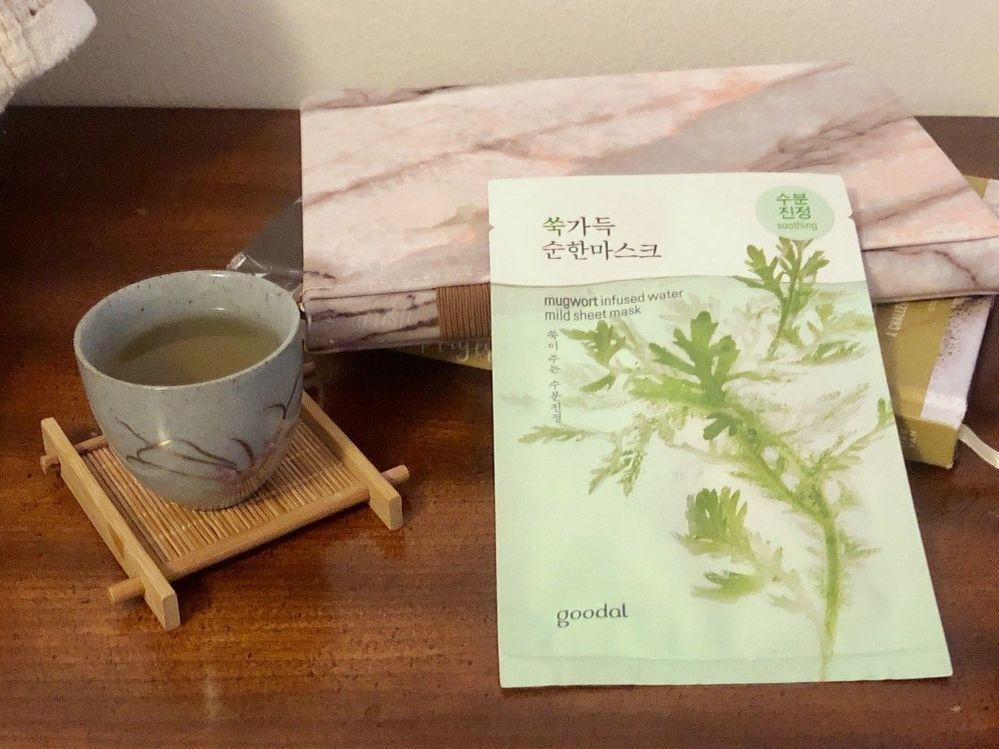 Mugwort sheet mask + mugwort tea
