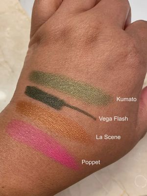 Photo taken in warm bathroom lighting. LH's Vega Flash Crayon has a moderate gold shimmer that's hard to see here. Poppet is a Westman Atelier blush stick.