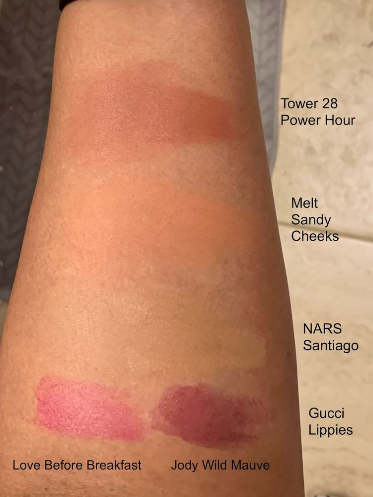 Photo taken in warm bathroom lighting. Blushes & NARS tinted moisturizer are blended out on the left side of each swatch.