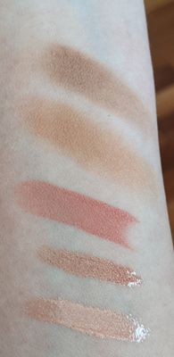 Deep Copper Radiance Boosting Face Palette, Lily Luxury Cream Lipstick, Chrysanthemum and Hibiscus High Shine Glosses