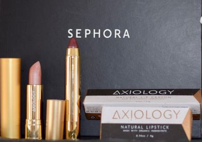 Axiology lipstick in The Goodness; Axiology lip crayon in Enchant