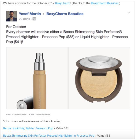 BoxyCharm October 2017 Spoiler