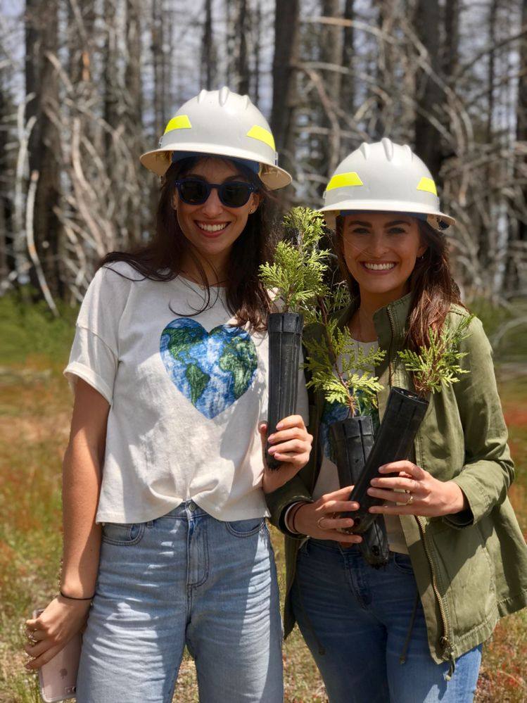 Team Caudalie reporting for duty! Our Marketing director, Alissa (left) and Senior Communications Manager, Christine (right) with their seedlings!