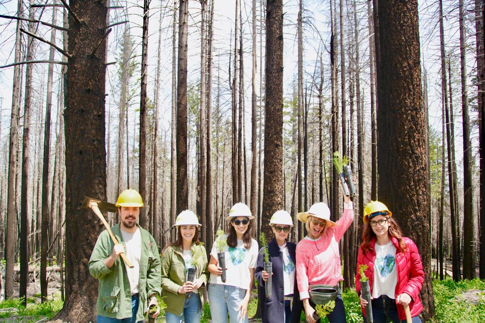 Time to plant trees! Team Caudalie is here along with some friends! From left to right, our GM, Andrea, Communications Manager, Christine, Marketing Director, Alissa, Celebrity Makeup Artists Jenn & Kristie Streicher, and Sephora Communications Manager, Jessica.