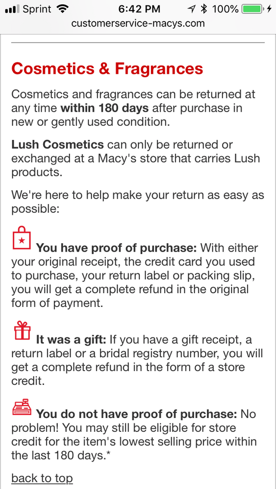re: macy's not accepting returns on open - beauty insider community