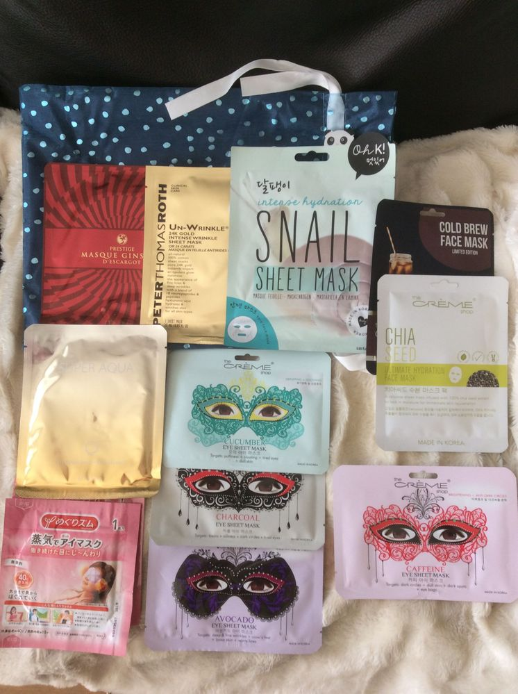 More sheet masks which were all in the cute pouch in the background