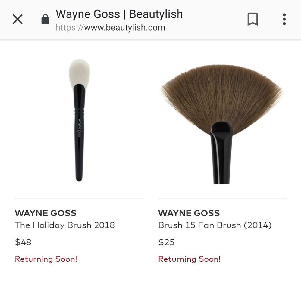 WG 2018 Holiday Brush, & 2014 brushes in production. 2014 brushes were posted on Beautylish in Dec 2018, then taken down.