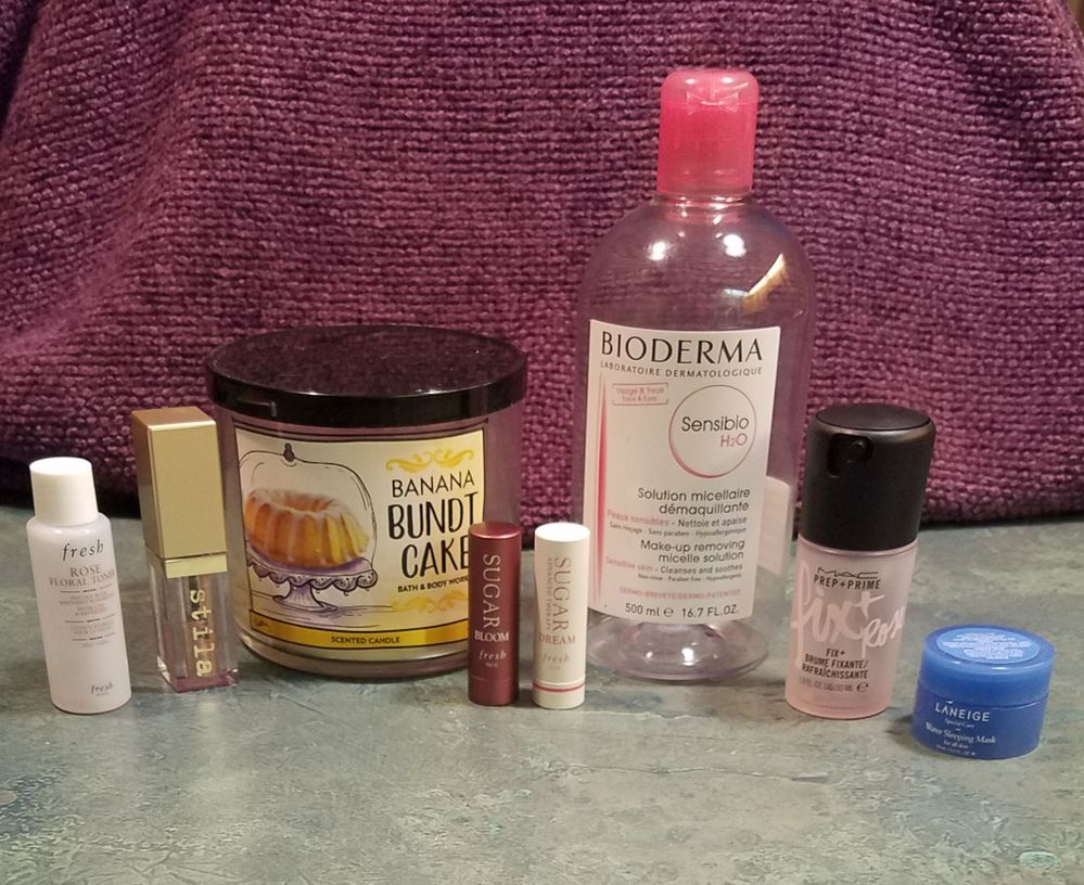 "All great!  The Fresh Rose toner was soothing, the Fresh lip balms always live in my purse, and I was surprised by how long the little Laneige mask lasted me.  The Stila Glitter and Glow in ""Wanderlust"" is a favorite of mine so I was glad that I had a backup and I've already repurchased a new backup!  The Bath and Body Works banana candle made my bathroom smell like banana bread (not mad about it), the Bioderma is a staple, and I enjoyed the Mac Fix+ Rose scent (although I like the Lavender the best)."