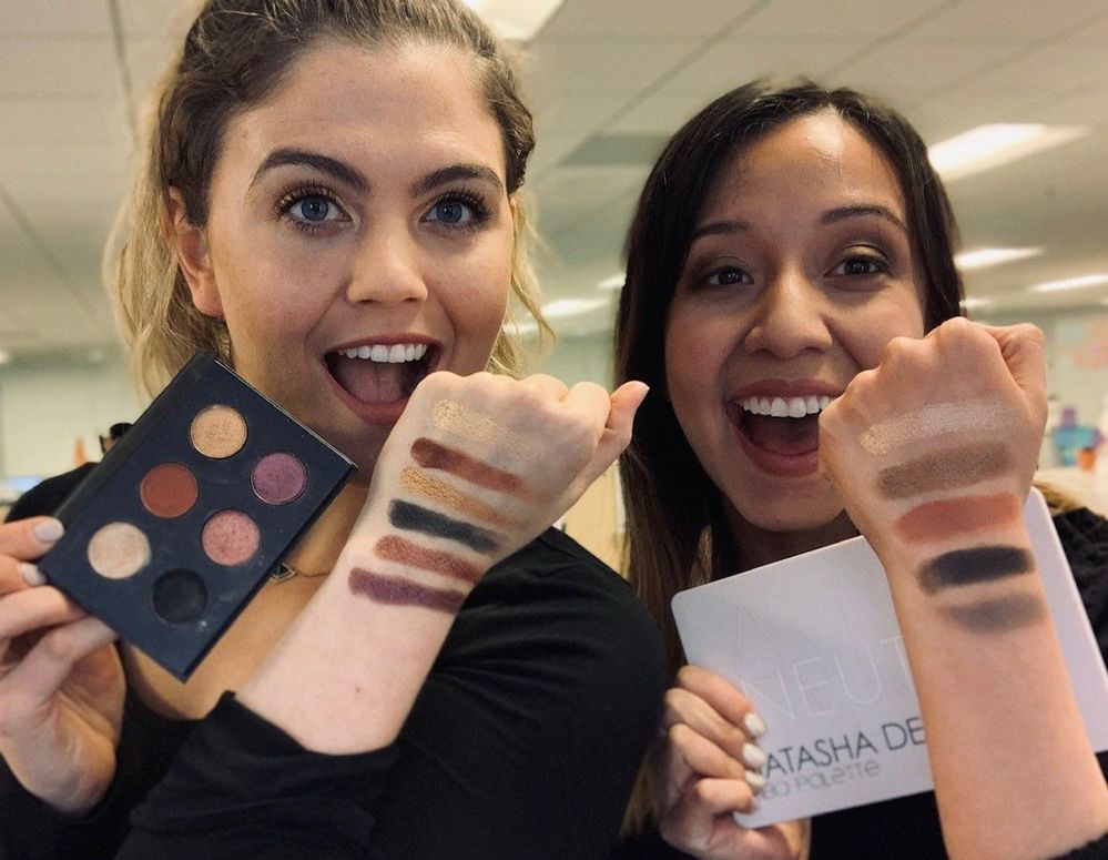 Palette Challenge Photo_Katie and Brenda holding eye palettes showing swatches.jpg