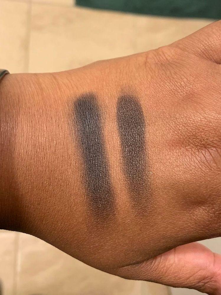 L: pressed Dark Matter shadow (from a palette). R: Dark Matter pigment (from Dark Star kit).