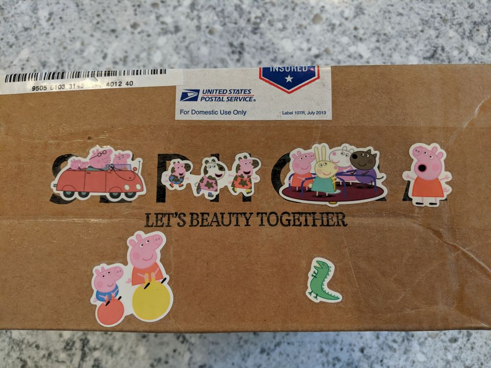 Did I mention she even decorated the outside of the box with Peppa the Pig stickers?! How cute is that?