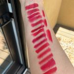 Outdoor lighting- top to bottom then right side top to bottom: BB Red Velvet,TF Stiletto,Shiseido Exotic Red,*Chanel Pirate, Chanel Extreme, Pat M Sedition, Pat M Elson, *Pat M 35mm,*UD Love Drunk, UD Bad Blood,KVD *Hellbent, KVD Hexagram,Bite *Sour Cherry, Bite Tannin. Right side top to bottom: CT Red Carpet Red, LM Rouge Muse, *LM Rouge Profond