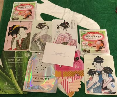 Look at all the masks, and she included a sweet card.