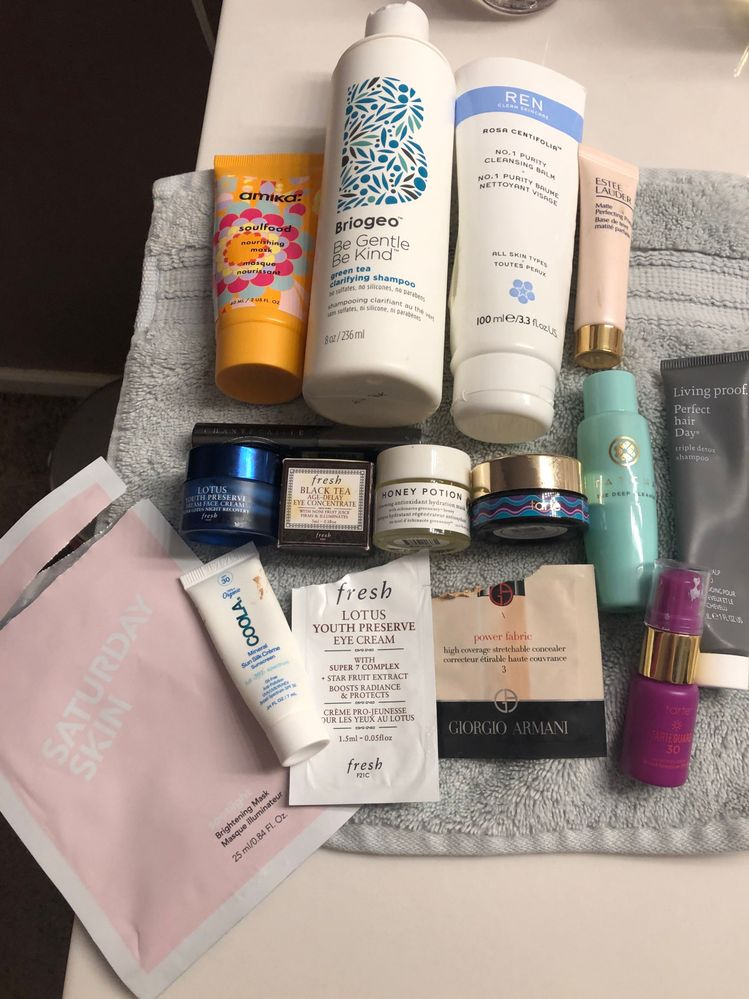 Loves- Saturday Skin Brightening sheet mask made my skin so soft and luminous. Fresh eye cream is a fav along with fresh lotus dream cream. Chantecaille mascara was a space nk birthday freebie. It's very nice but full size is $74! So won't  be buying that!! Cools sunscreen is nice just searching for higher spf.