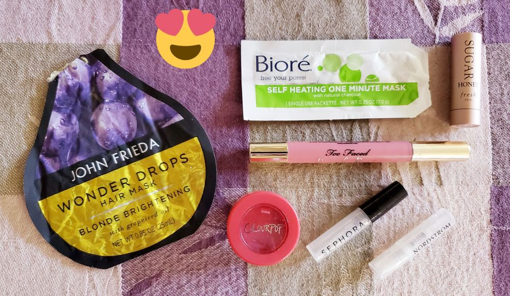 "The John Frieda hair mask was a surprise ""win"" for me--I got a good 3 uses out of it and it made my hair soooo soft.  The Biore warming mask was a rediscovery for me but it feels really nice on a cold night.  I already have a backup of the Too Faced Peach Puff lippie and I loved the Colourpop Jellymuch shadow (Doves and Roses) but it dried up and I couldn't revive it.  Finally the two perfume samples were the Lancome Idole and Joe Malone Honeysuckle and Davana.  Classic example of ""the sample made me buy it"".  See my upcoming Monthly Haul post."
