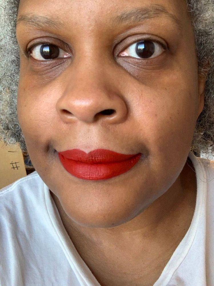 PMG LiquiLUST in Revelation Red. Today's a no-makeup day for me, aside from wear-testing this lipstick.