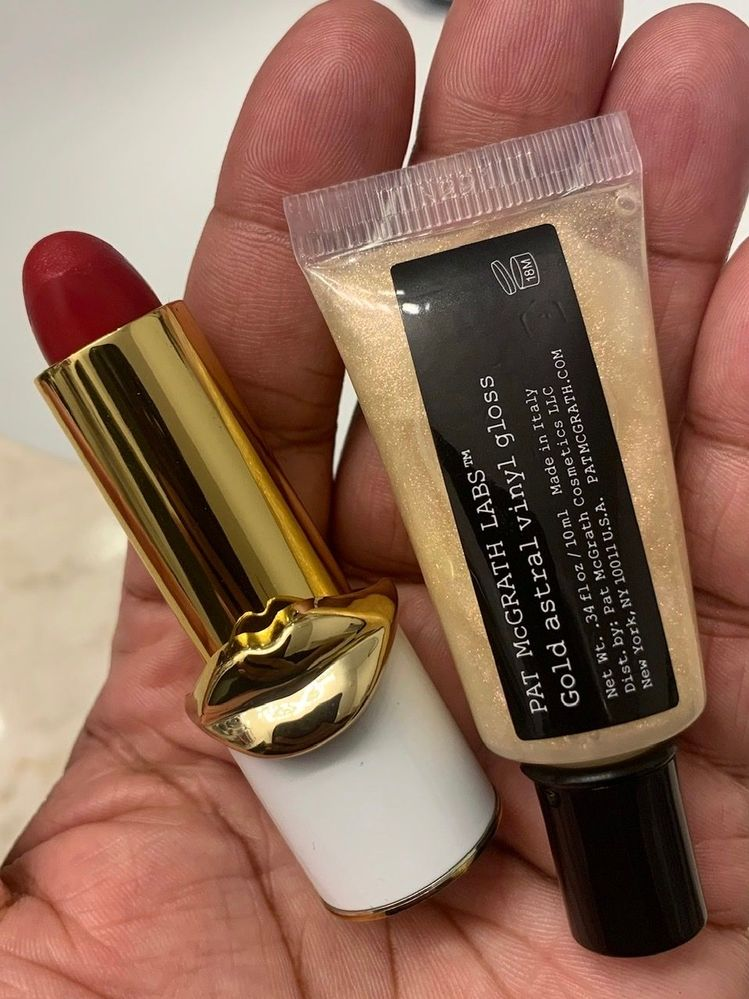 """Forgot to include these in 1st photo: Lip Fetish in Wild Cherry and a """"Lip Labs"""" Astral Vinyl Gloss."""