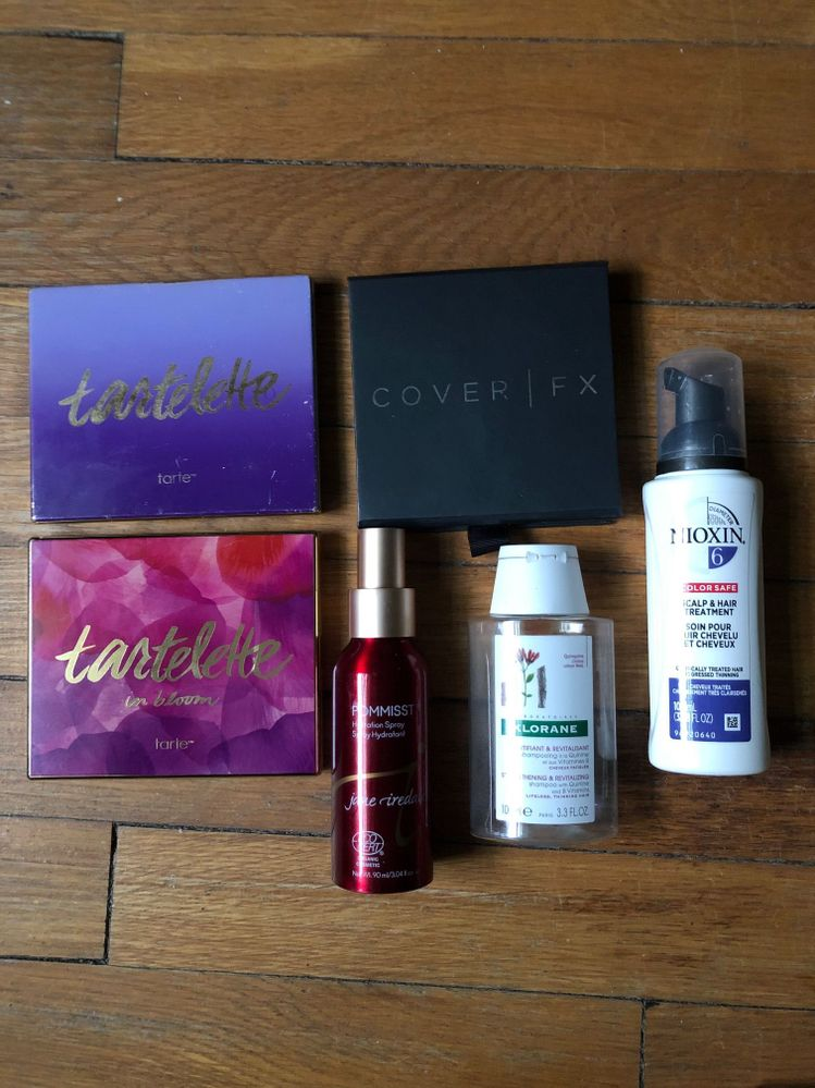 Tartelette Palette, Tartelette in Bloom Palette, Cover FX Contour Kit, Jane Iredale Pommist Hydration Spray, Klorane Strengthening & Revitalizing Shampoo, Nioxin Scalp & Hair Treatment