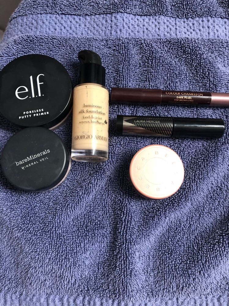 Favorite Makeup Products- Love the Elf primer that I got in my Allure box, finally found something that lees my makeup from creasing around my nose. Works great with BM mineral veil. The Charlotte Tilbury was purchased with the $100 reward and I love it as an eyeliner! I've used it as eyeshadow too and it's beautiful! The LM was from the play box and I love how it lengthens and defines without it getting clumpy. The Becca is a long time fav great for those days you are a tired momma.