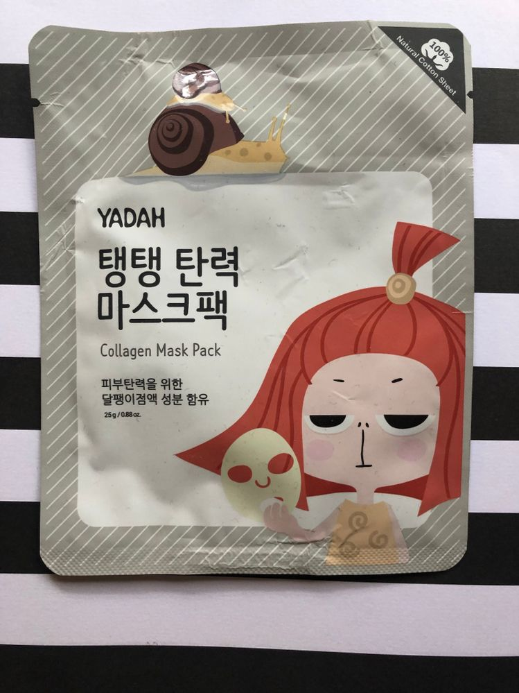 C - collagen - this one is nice (thanks @itsfi!) It feels a little heavier than other sheet masks and it stays on my skin even iwth it bieng thicker. Along with green tea, I really like snail in skincare, especially masks so I was looking forward to this one. It didnt' disappoint.