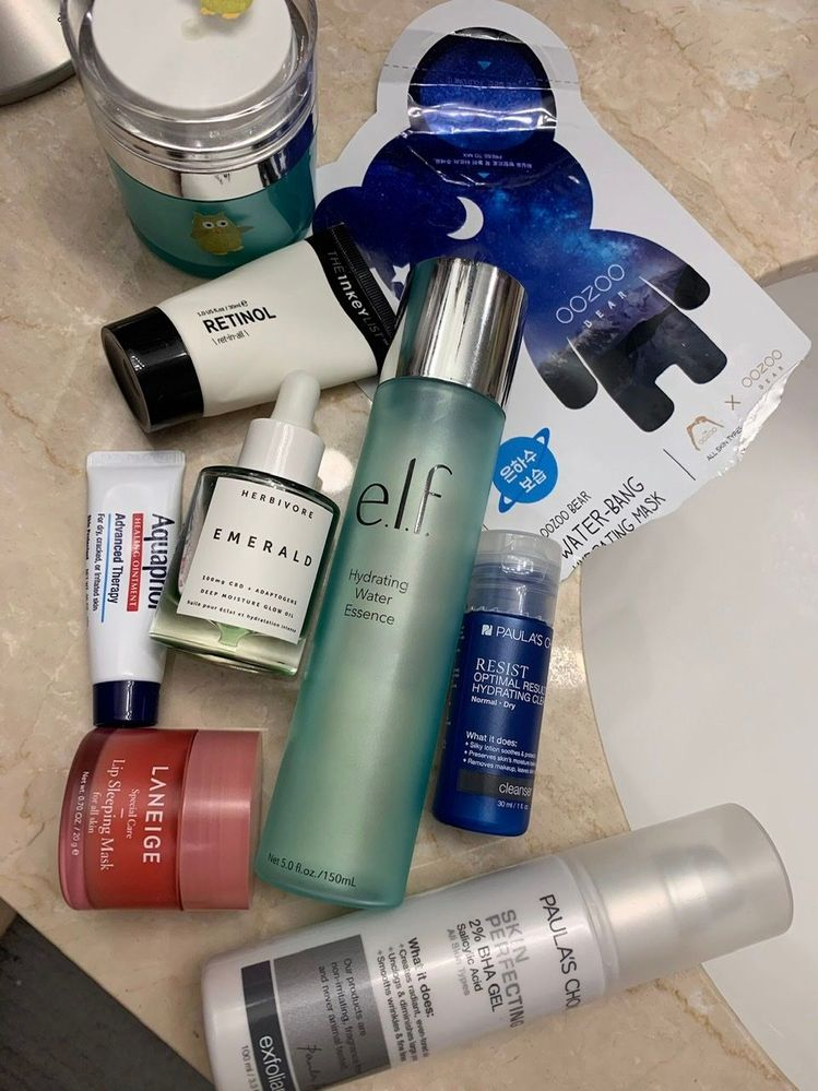 PM routine, Jan. 25: retinol night; using up that cleanser; a little masking TLC.