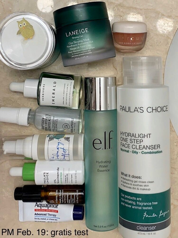 PM Feb. 19: products used in clockwise order, starting with cleanser.