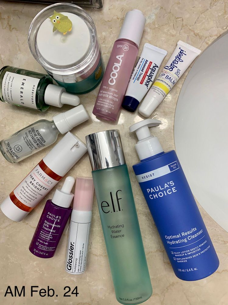 AM Feb. 24: products used in clockwise order, starting with cleanser.