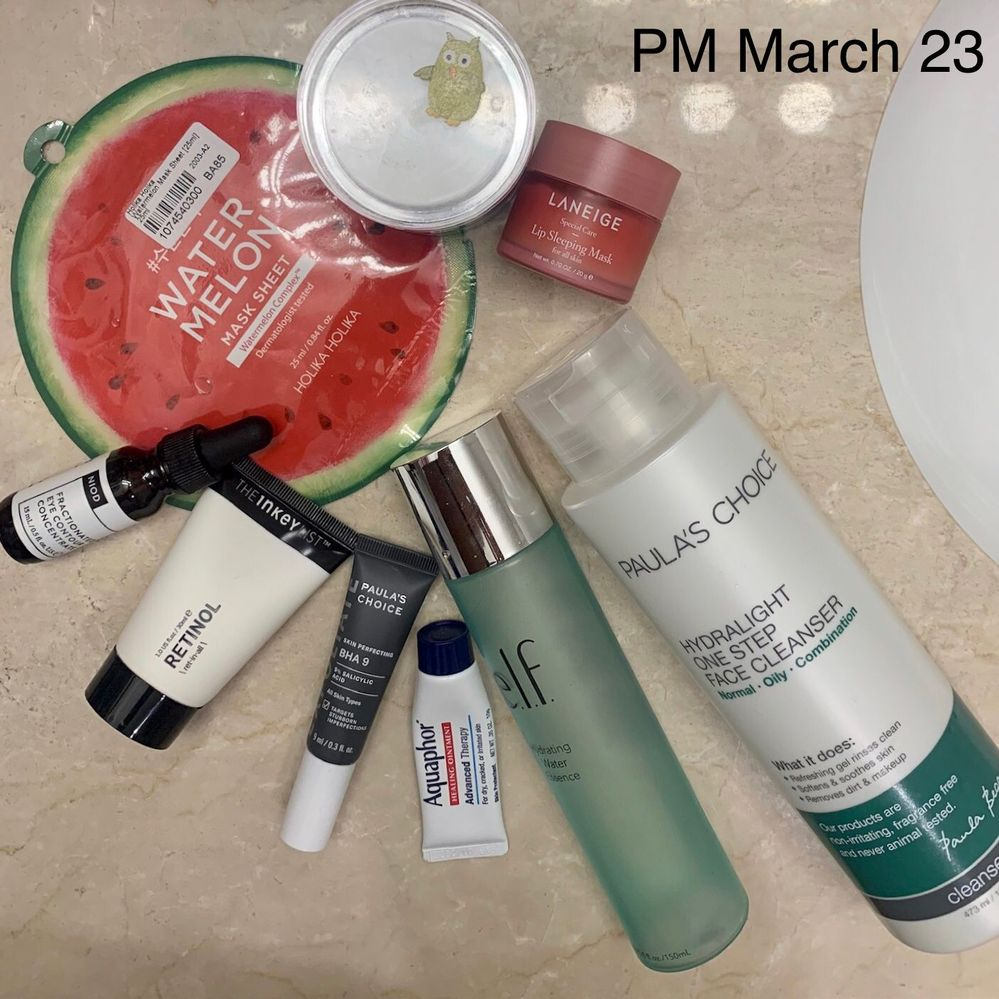 Products used in clockwise order, starting with cleanser.