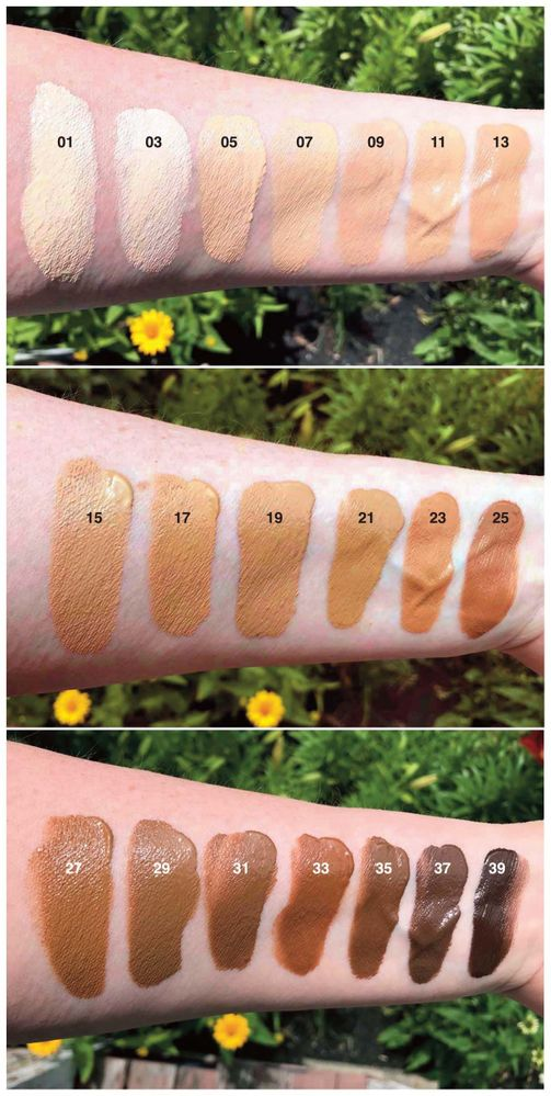 Full range of swatches in outdoor light.