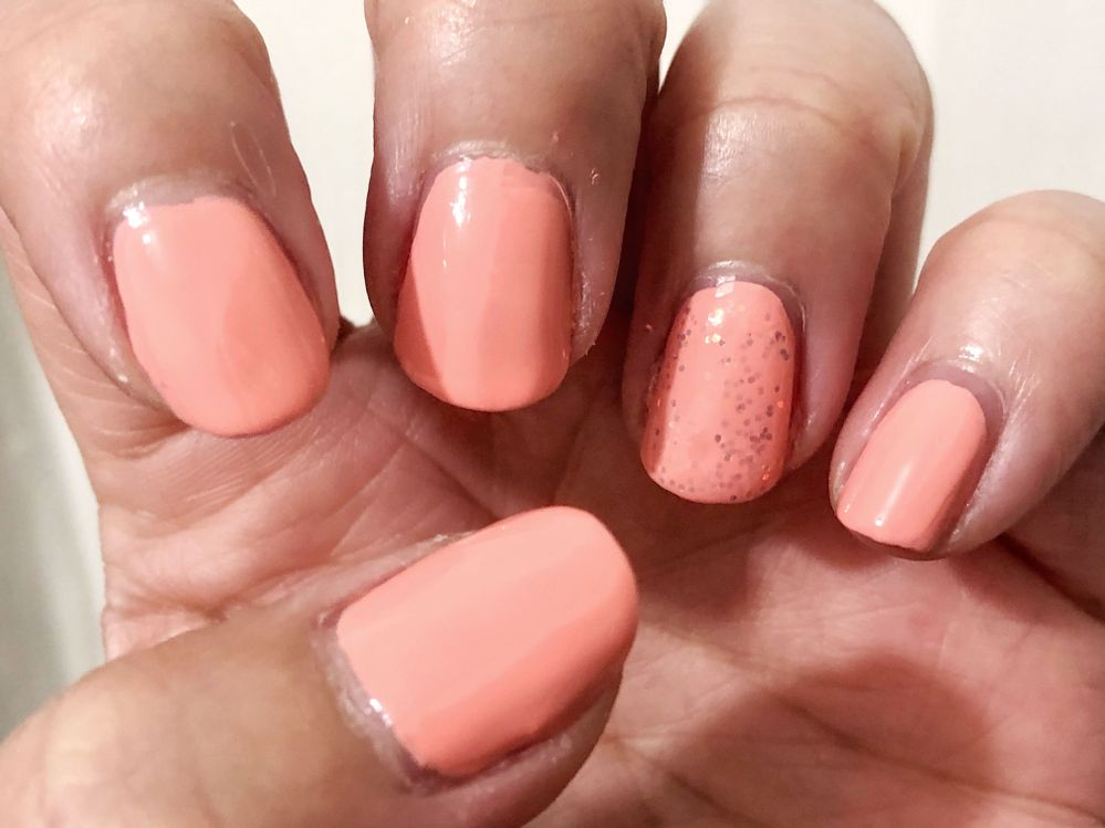 Nails Inc. Real Peaches Only with Cupcake Polish Frosting as topper on ringer finger