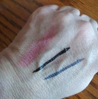 Clinique Dramatically Different Shaping Lip Color in Barely; Stila Stay All Day Waterproof Liquid Eye Liner in Intense Smokey Quartz and Alloy; these liners won't even wash off my hands with soap and water!
