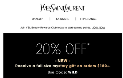 *20% off ends 3AM ET 10/23/20 on YSL direct site.