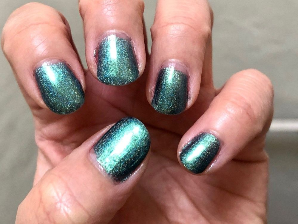 This week's nails - Jior Couture Into the Unknown. I'm loving the multichrome / holo on this one.
