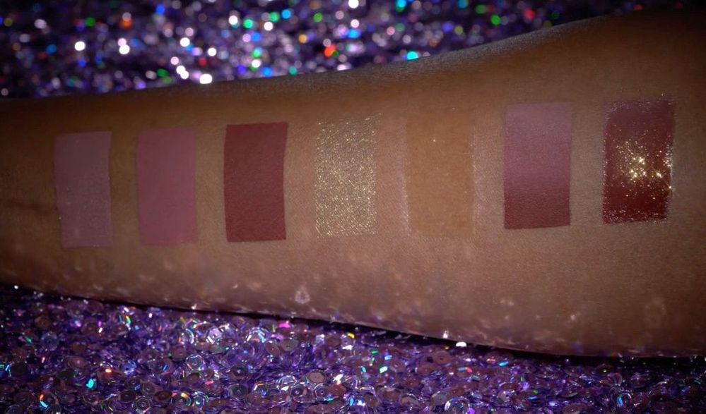 L-R: 3 nude liquid matte shades, powder, clear gloss, and combo swatches.