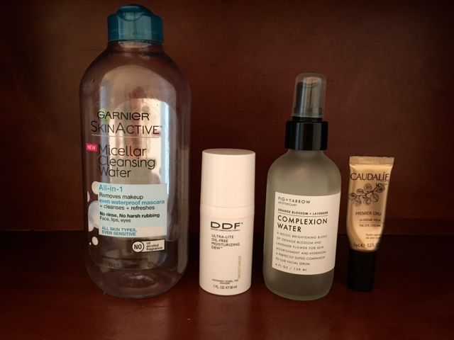 I would repurchase all except the eye cream.- Garnier Micellar Cleansing Water (waterproof version), DDF Ultra-Lite Moisturizing Dew, Fig+Yarrow Complexion Water, Caudalie Premier Cru eye cream