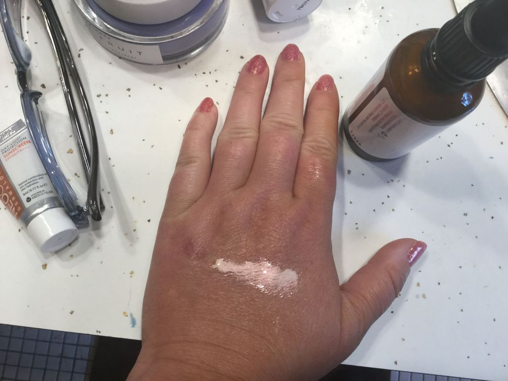 "Here's a ""swatch"" of the moonstone Argan oil.  I must say I love it as a primer."