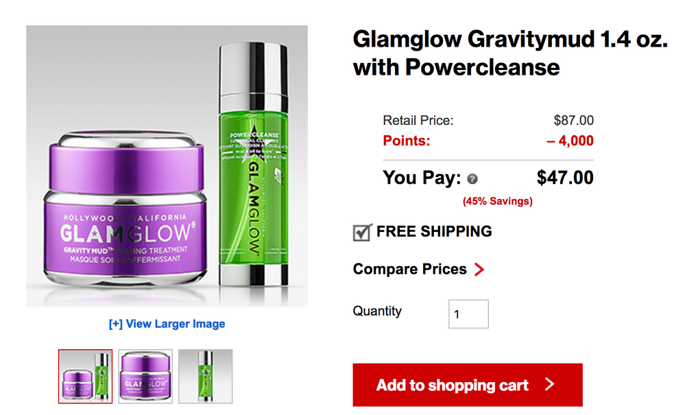 The same GlamGlow gravity mud on Sephora is $69!