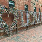 Love locks wall at the distillery district.