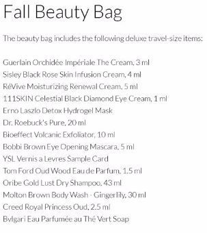 HR Fall Beauty Bag 2017 Contents