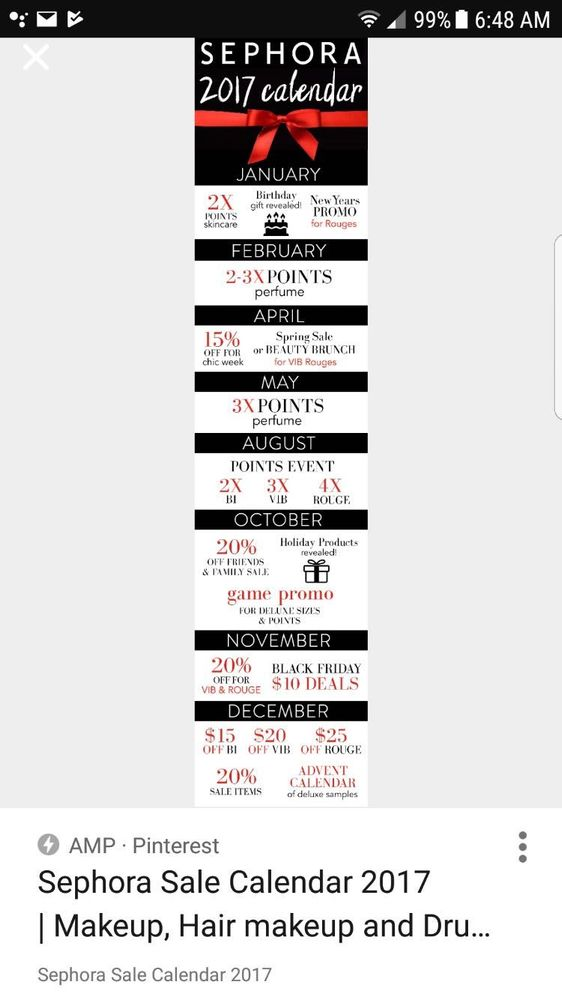 re sephora calendar