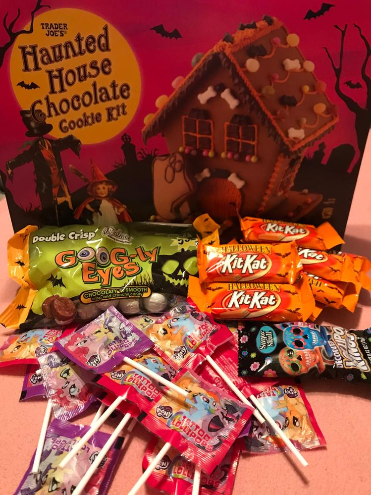 Candy overload... including a halloween gingerbread house kit!